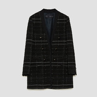 CHECKED FROCK COAT WITH TEXTURED WEAVE DETAILS