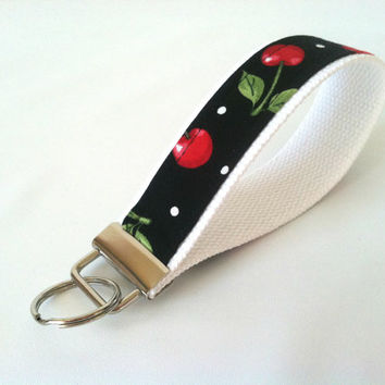 Cherry Key Fob - Red White Black Wristlet Keychain, Wrist Strap, Key Holder, 50's Key Chain, Rockabilly Key Chain, Pin Up Keychain