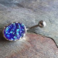 Druzy Jewelry Belly Button Rings Purple Belly Button Jewelry