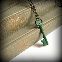 Forest Green Hand Aged Raw Brass Skeleton Key by SovereignSea