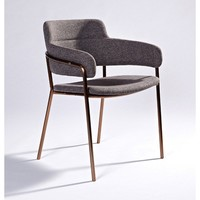 "Modern Grey ""Lara"" Bronze Metal Frame & Fabric Seat Dining Chair"