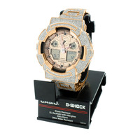 Rose Gold G Shock Watch  Iced Out Digital Analog GA100GD-9A