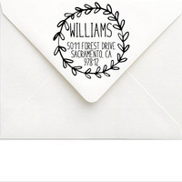 Custom Return Address Stamp - Large Address Stamp - Personalized Wreath Address Stamp - Boho Wedding Stamp - Rustic Wedding Invitation Stamp