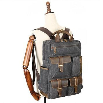 Large Capacity Genuine Leather Canvas Outdoor Backpack