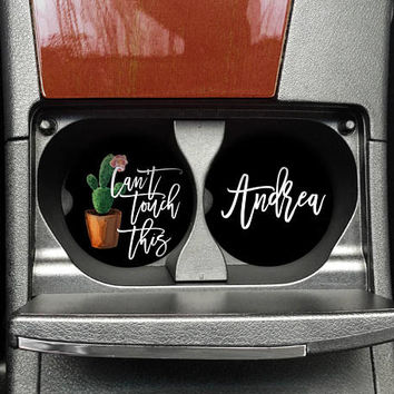 Cactus Car Coaster, Cactus Lover, Can't Touch this, Cactus cup holder coaster, Succulent Mug, Funny Car coaster, (CAR00027)