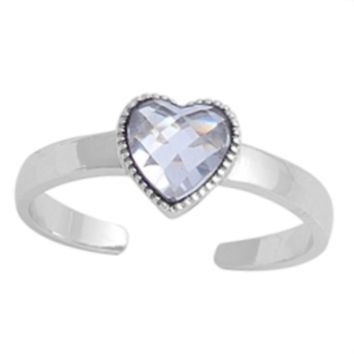 .925 Sterling Silver Diamond Heart Adjustable Ring for Ladies and Kids CZ Midi or Toe