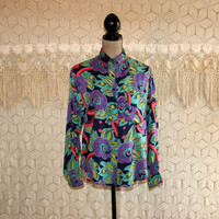 90s Clothing Colorful Floral Blouse Rayon Shirt Long Sleeve Top Small Medium Oversized Button Up Shirt Grunge Womens Vintage Clothing