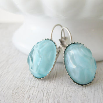 Vintage Style Turquoise Earrings, Unique Glass Cabochons, Lever Backs, Antique Silver, Summer Jewellery, Light Aqua, Spring Earrings, Pastel
