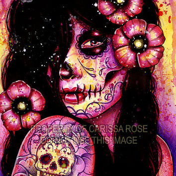 30 PERCENT OFF I'll Never Forget Art Print - Day of the Dead Pop Art Portrait By Carissa Rose 8x10