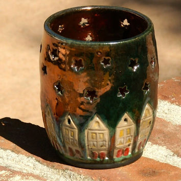 Raku Luminary with Houses and Starry Sky  - hand thrown, stoneware pottery, candle holder, copper glaze