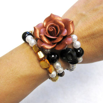 Sugar Skull Bracelet Day Of The Dead Jewelry Wrap Cuff Amber Brown Copper Black White Rose