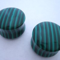 Malachite Stone Plugs (8 gauge - 1 inch)