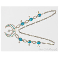 Vintage retro long faux turquoise and silver tone metal Native American squash blossom necklace, women's jewelry