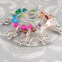 Butterfly Wine Glass Charms Drink Markers - Set of 8, Glass Beads