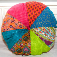 Colorful Extra Large Round Sprocket Accent Floor Pillow/ Turquoise, Orange and Pink Pillow/ Boho Chic Pillow /Indian Pillow