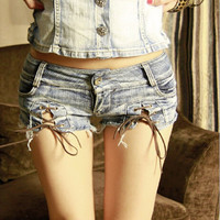 Small size New Summer Sexy Girls Denim Shorts Low Waist Punk Hipster Shorts Ribbons Lace-Up Style Jeans Shorts for Girls UB303
