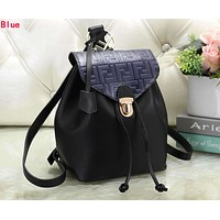 FENDI Newest Fashionable Women Casual Daypack School Bag Leather Backpack Blue