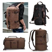 Men and Women's Fashion Outdoor Multi-purpose Backpack Vintage Shoulder Bag Canvas Messenger Rucksack Schoolbag Travel Satchel [8081830599]