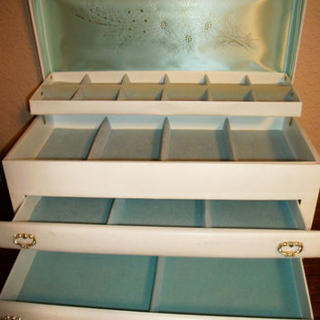 Jewelry Box Vintage Buxton White Vinyl Two Drawer Dresser Top Chest Blue Flocked Compartment Woman's Accessory Storage