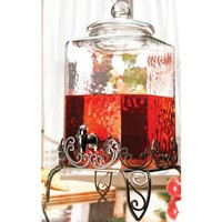 Circleware 320-Ounce Portofino Hammered Glass Dispenser with Stand