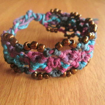 Purple Haze Hemp Bracelet, Macrame Cuff, Glass Beaded, Hemp Jewelry, Macrame Bracelet