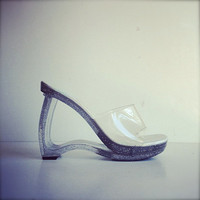 90's Clear Glitter Avant Garde Cut Out Wedge Holographic Sandals // 8