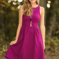 EVERLY:Steal Your Heart Dress-Fuchsia