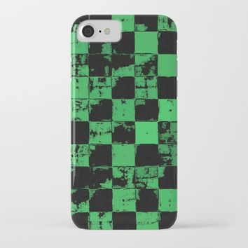 Grunge style, green tiles, squares, geometric pattern iPhone & iPod Case by Peter Reiss