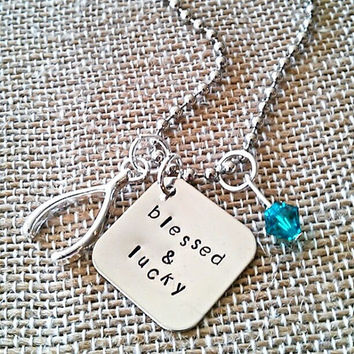 """Hand Stamped """"Blessed & Lucky"""" Necklace"""