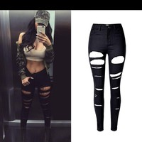 Sherhure High Waist Jeans Woman Ripped Jeans For Women American Apparel Hole Denim Pants Mujer Oversize Women Black Skinny Jeans