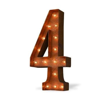 "24"" Number 4 (Four) Sign Vintage Marquee Lights"