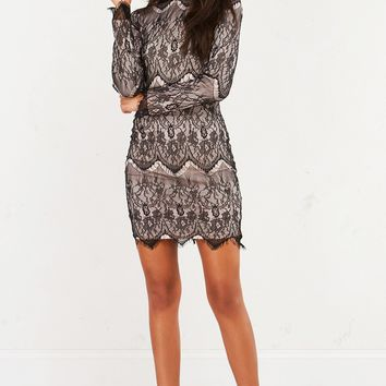 BREAKING TIES LACE LONGLSEEVE MINI DRESS - What's New