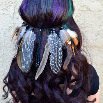Mixed Feather Headband #B1007
