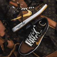 NIKE OFF-WHITE x AJ1 x Louis Vuitton LV Sneaker