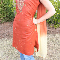 Stunning Burnt Orange tunic dress that has matching pants Handmade in India