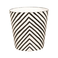 Worlds Away Oval Wastebasket Zebra Pattern