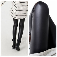 Black Faux Leather Slim Leggings