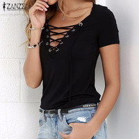 Women Blusas 2017 Summer Sexy V Neck Blouses Short Sleeve Casual Hollow Out Lace Up Shirts Plus Size Tee Tops