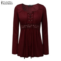 2016 Autumn Sexy Blouse Tops V Neck Long Sleeve Lace Splice Solid Blusas Shirt Casual Plus Size Blouses Oversized ZANZEA Women