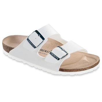 Birkenstock Classic Arizona Narrow Fit Leather White | Best Deal Online