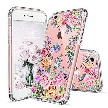 iPhone 6 Case, iPhone 6s Case for Girls, MOSNOVO Roses Garden Floral Printed Flower Pattern Clear Design Plastic Back Hard Case with TPU Bumper Protective Case Cover for Apple iPhone 6 6s (4.7 Inch)
