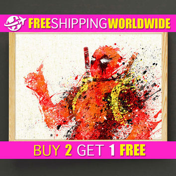 Deadpool Watercolor Art Print Avengers Poster Marvel Housewear Superhero Wall Art Gift Linen Print - Comics - FREE SHIPPING - 246s2g