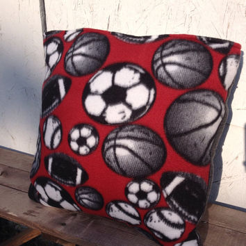 Sports Fleece quillow, fleece blanket, quilt that folds into a pillow, masculine quilt, fisherman quilt