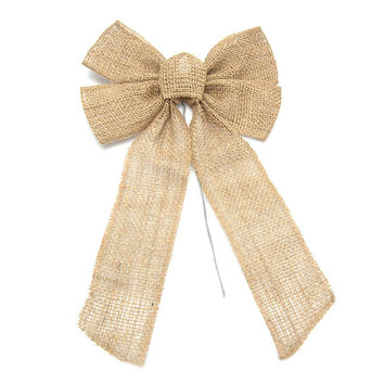 Natural Burlap Bow with Wire, 17-Inch