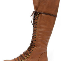 Georgia 35 Tan Lace-Up Knee High Boots
