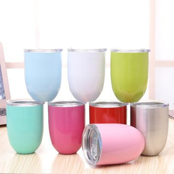 Stainless Steel Wine Glass Insulated Metal Goblet Tumbler Mugs Cup for Kitchen Bar Party 51AN58003