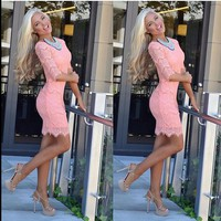 Accidentally In Love Scalloped Lace Dress Peach/Pink