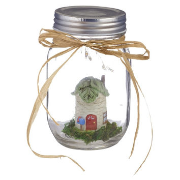 Fairy Garden in an Illuminated Mason Jar (Tree house)