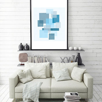 Geometric print, wall art printable, geometric wall art, blue wall art, abstract print, modern print,geometric printable, geometric decor