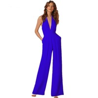 Summer Women Elegant Deep V-Neck Sleeveless Slim Sashes Pockets Jumpsuit Rompers Backless Zipper Wide Overalls Fashion
